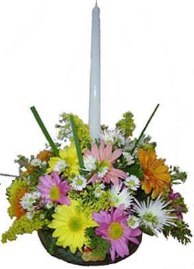 De Vidro Com Flores Do Campo E 1 Vela   IDEAL PARA MESA DOS CONVIDADOS